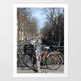 Bike Parked on Canals of Amsterdam Art Print