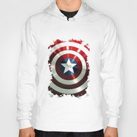 steve rogers Hoodies featuring Captain Steve Rogers Shields  by neutrone