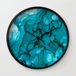 Turquoise Dip Abstract: Original Alcohol Ink Painting by Herzart Wall Clock