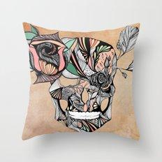 Flower Skull Throw Pillow