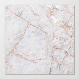 White Italian Marble & Gold Canvas Print