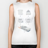delorean Biker Tanks featuring Origami DeLorean by 6amcrisis