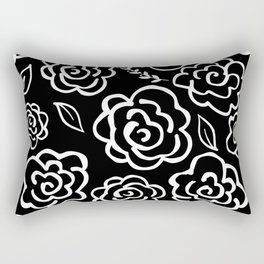 Large Floral Outlines - White/Black Rectangular Pillow