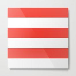 Even Horizontal Stripes, Red and White, XL Metal Print
