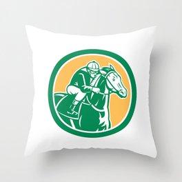 Jockey Horse Racing Circle Retro Throw Pillow