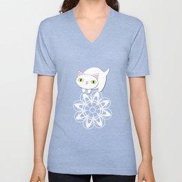 Feline Flurries on Light Blue Unisex V-Neck