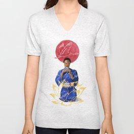 Asian Lotus Unisex V-Neck