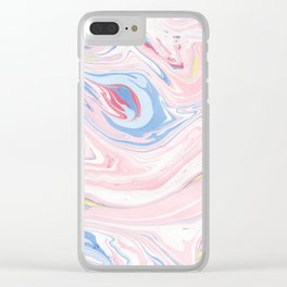 Blush pink blue pastel abstract hand painted watercolor marble Clear iPhone Case