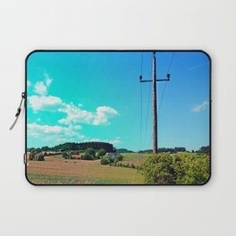 Clouds, a powerline and lots of green Laptop Sleeve
