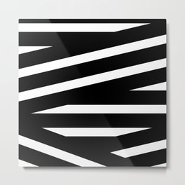 Abstract black & white Lines Stripes Pattern - Mix and Match with Simplicity of Life Metal Print