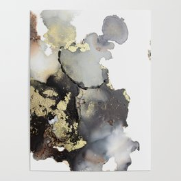 Black and gold abstract alcohol ink art Poster