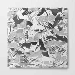 Monochrome Jungle Life / Grayscale Wilderness Metal Print