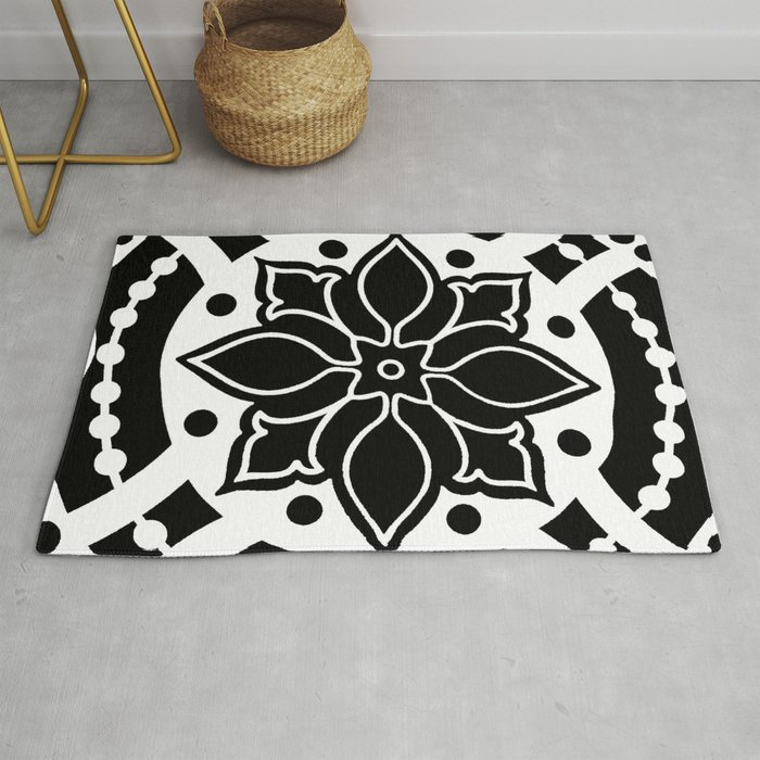 Black And White Graphic Medallion Design Abstract Rug By Saundramyles