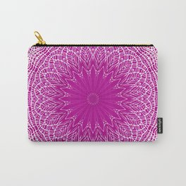 PURPLE AND WHITE LACE MANDALA WEB - VERTICAL Carry-All Pouch