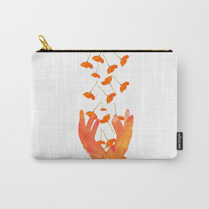 Wonderful Poppy Flowers Orange Coral Color White Background #decor #society6 #buyart Carry-All Pouch