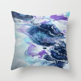 Navy Blue, Teal and Royal Purple Marble Throw Pillow