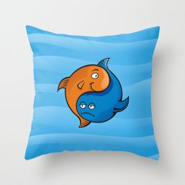 Yin Yang Fish Cartoon Throw Pillow