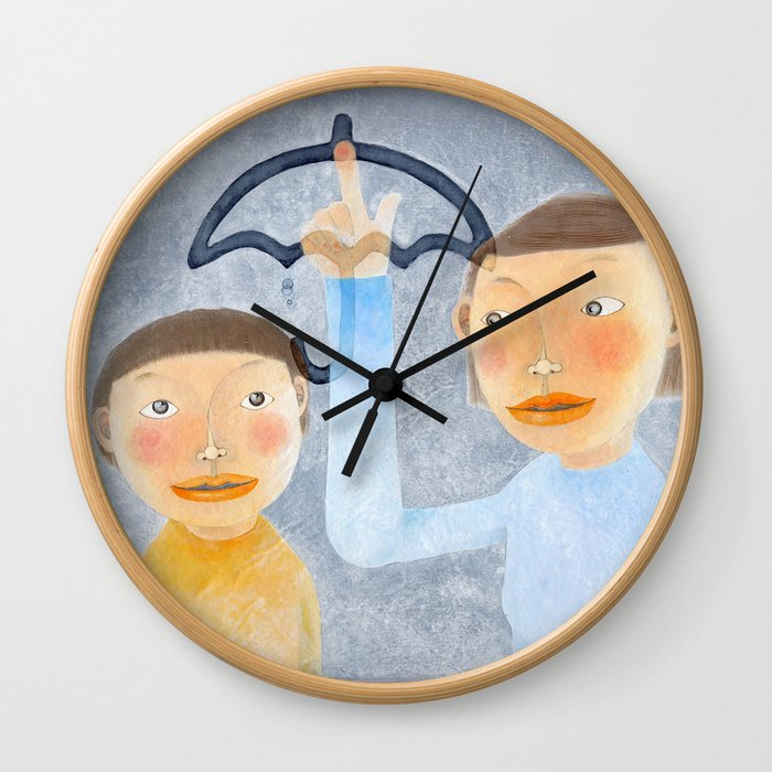 a lesson on a rainy day Wall Clock