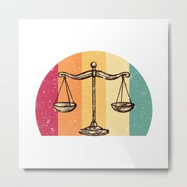 Scales Of Justice Lawyer Retro Gift Idea Metal Print