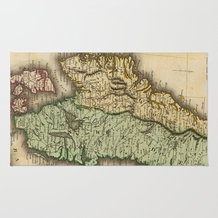 Vintage Map of Norway and Sweden (1831) Rug