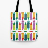 lipstick Tote Bags featuring Lipstick by Piper Burke