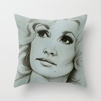 dolly parton Throw Pillows featuring Dolly Parton by Talula Christian
