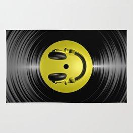 Vinyl headphone smiley Rug