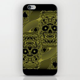 Ace of Spades Gold Skull Playing Card iPhone Skin