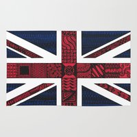 union jack Area & Throw Rugs featuring Union Jack by Sophie H.