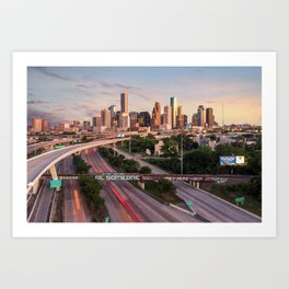 Be Someone in Downtown Houston, Texas during sunset Art Print
