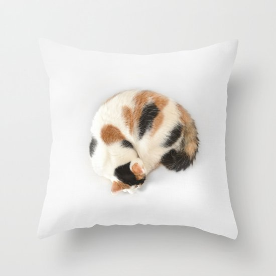 Sleeping Calico Cat Throw Pillow