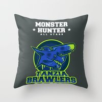 monster hunter Throw Pillows featuring Monster Hunter All Stars - The Tanzia Brawlers by Bleached ink