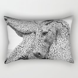 The Kelpies, Water Spirits, Falkirk, The Helix, Scotland black and white photography, 2019 Rectangular Pillow