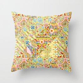 Sunshine Crazy Quilt (printed) Throw Pillow