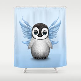 Cute Baby Penguin with Blue Fairy Wings Shower Curtain