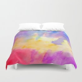 Watercolor Abstract Landscape Yellow Red and Blue Duvet Cover