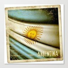 Grunge sticker of Argentina flag Canvas Print
