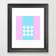 Pink and Blue Checkered Framed Art Print