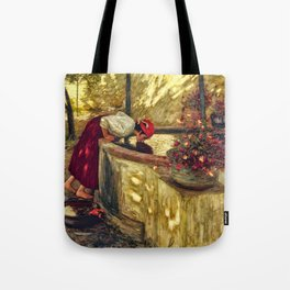 Girl at the Well with Lilacs, Liguria, Italy portrait by Henry Herbert La Thangue Tote Bag