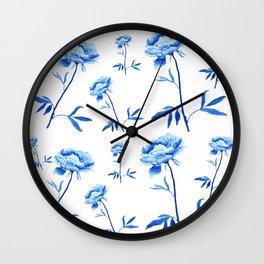 one blue peony painting Wall Clock