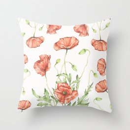 Fragile Beauty - Watercolor Poppies Throw Pillow