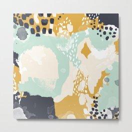 Tinsley - abstract painting minimalist decor nursery dorm college art gold navy Metal Print