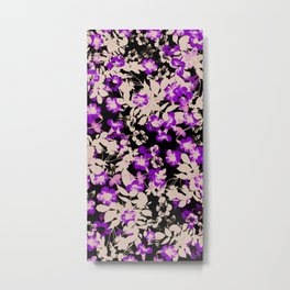 purple canary creeper flower with silhouette leaves on black Metal Print