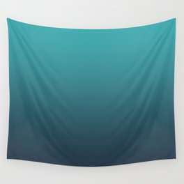 Aqua Teal Turquoise on Navy Blue Soft Gradient Blend - Aquarium SW 6767 Wall Tapestry