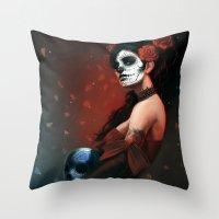dia de los muertos Throw Pillows featuring Dia de los Muertos by Giorgio Baroni
