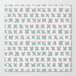 Contemporary X Paint Cross stich Pink Mint Pattern Canvas Print