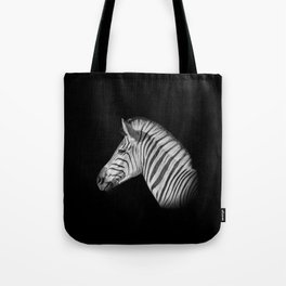 Monochrome Zebra Portrait Tote Bag