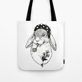 Cute rabbit in hair band with some flowers Tote Bag