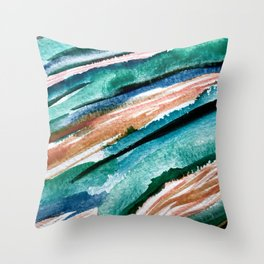 Here's to the Dreamers [2]: a minimal, watercolor abstract piece in pinks, green, blue, and white Throw Pillow