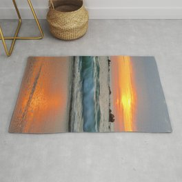 Golden sunset with turquoise waters Rug